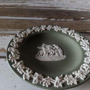 Wedgwood Pegasus green mini plate jasperware plate